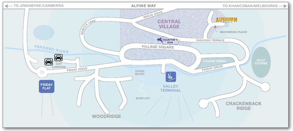 Map of Thredbo Village showing Alpenhorn Lodge